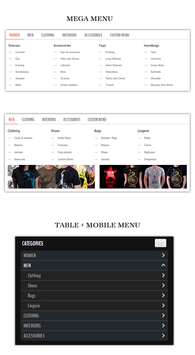 menu - Alexis - Fashion Responsive Magento Theme