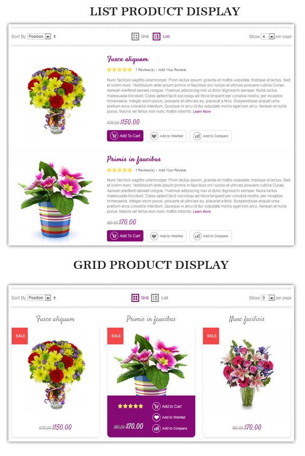 grid list - Flower Responsive Magento Theme