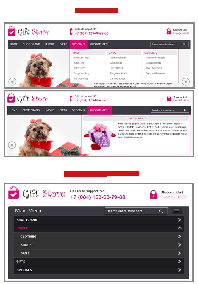 menu - Gift Store Responsive Magento Theme